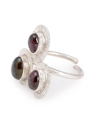 Tourmaline Silver Adjustable Ring