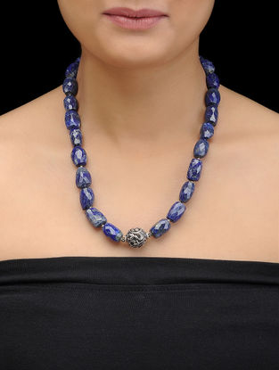 Lapis Lazuli Beaded Silver Necklace