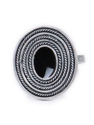 Black Enameled Adjustable Vintage Silver Ring
