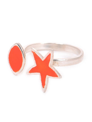 Orange Enameled Adjustable Silver Ring