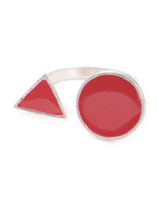Red Enameled Adjustable Silver Ring