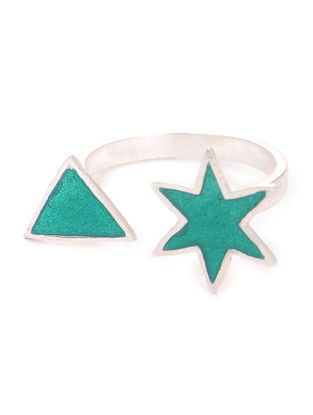 Green Enameled Adjustable Silver Ring