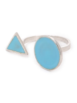 Blue Enameled Adjustable Silver Ring
