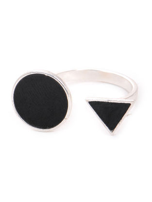 Black Enameled Adjustable Silver Ring