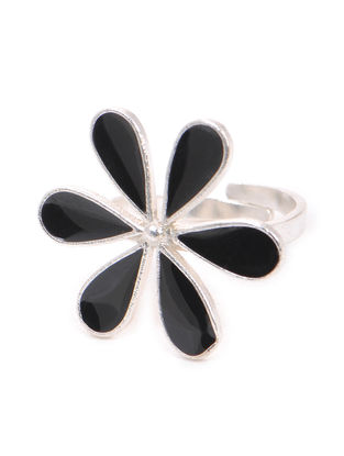 Black Enameled Adjustable Silver Ring with Floral Design