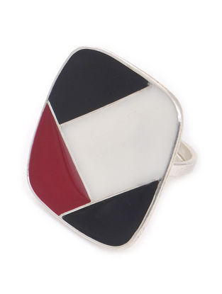 Black-White Enameled Adjustable Silver Ring