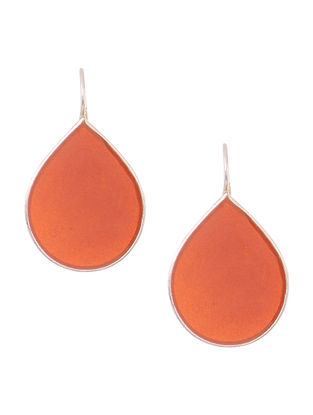 Orange Enameled Silver Earrings