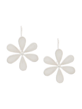 White Enameled Silver Earrings with Floral Design