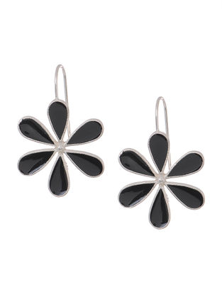 Black Enameled Silver Earrings with Floral Design
