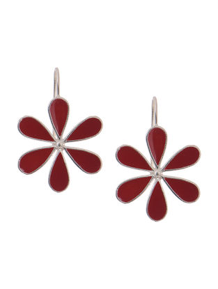 Maroon Enameled Silver Earrings with Floral Design