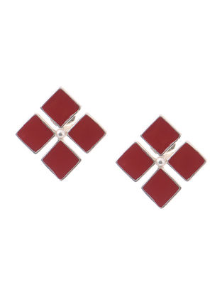 Maroon Enameled Silver Earrings