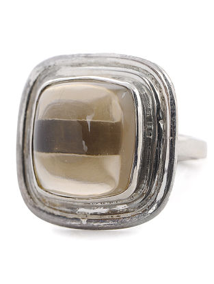 Smoky Quartz Silver Adjustable Ring