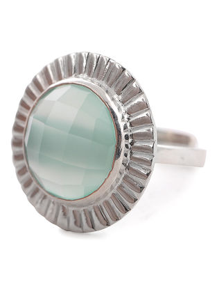 Chalcedony Silver Adjustable Ring