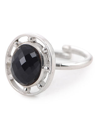 Black Onyx Silver Adjustable Ring