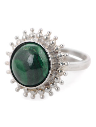 Malachite Silver Adjustable Ring