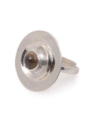 Smoky Quartz Adjustable Silver Ring