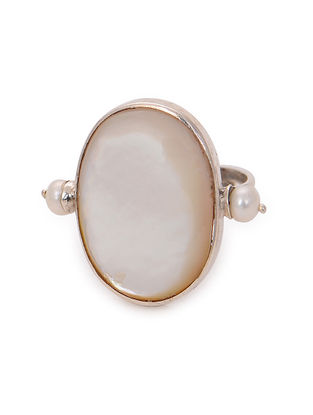 Mother of Pearl Adjustable Silver Ring