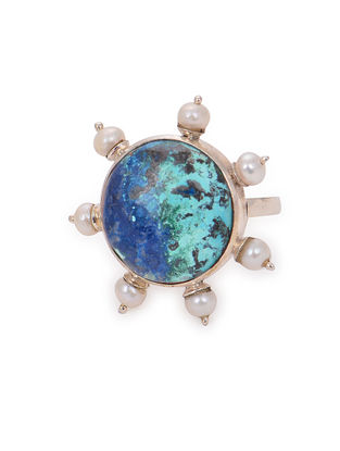 Chrysocolla Adjustable Silver Ring