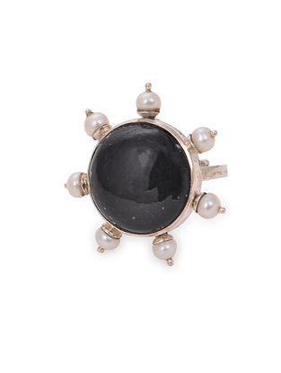 Black Chert Adjustable Silver Ring
