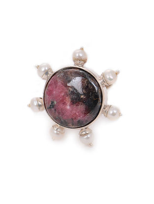 Rhodonite Adjustable Silver Ring