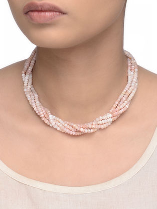 Pink Opal Beaded Multi-string Necklace