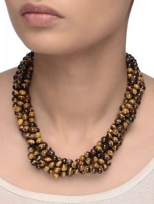 Tigers Eye Beaded Multi-string Necklace