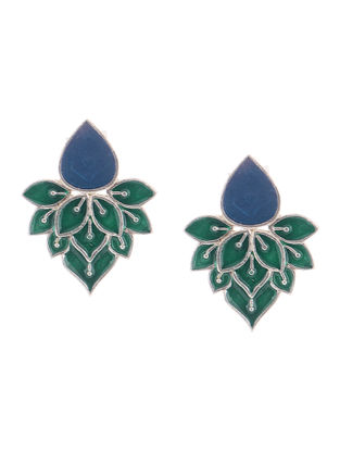 Blue-Green Enameled Silver Earrings