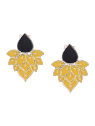 Black-Yellow Enameled Silver Earrings