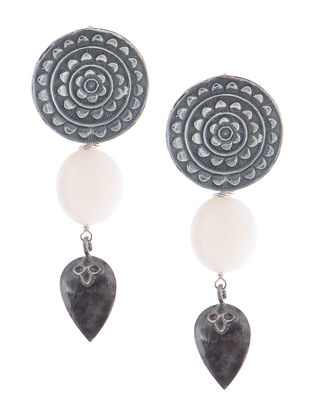Mother of Pearl Tribal Silver Earrings