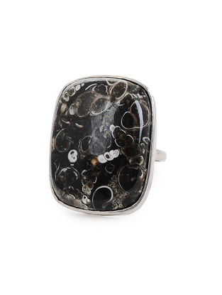 Jasper Adjustable Silver Ring