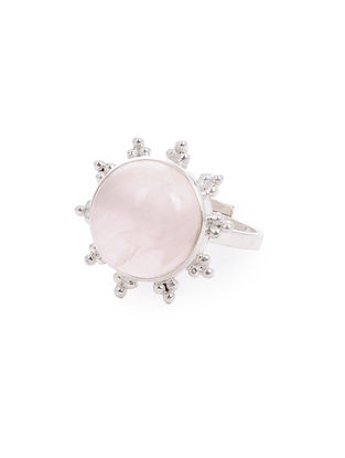 Rose Quartz Adjustable Silver Ring