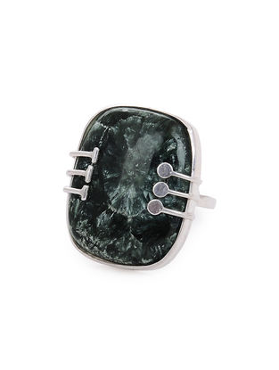 Seraphinite Adjustable Silver Ring