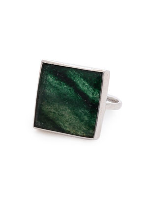 Aventurine Adjustable Silver Ring