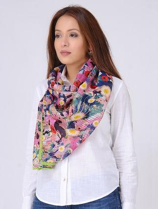 Multicolored Digital-printed Tabby Silk Scarf