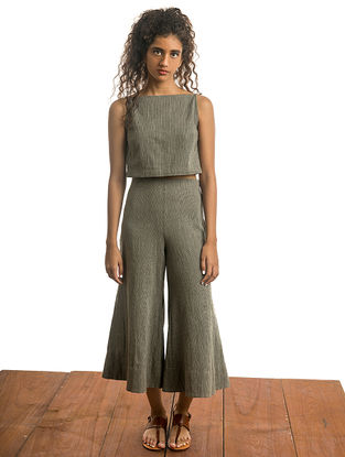 Olive Natural-dyed Handwoven Cotton Crop Top with Stripes