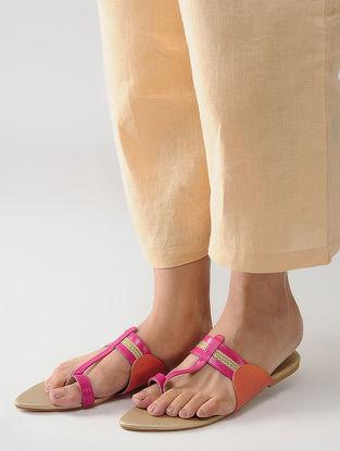 Pink-Beige Handcrafted Kolhapuri Flats
