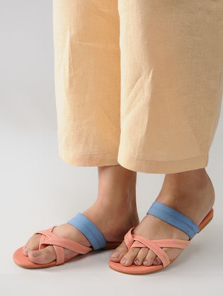 Peach Handcrafted Multi-Strap Flats