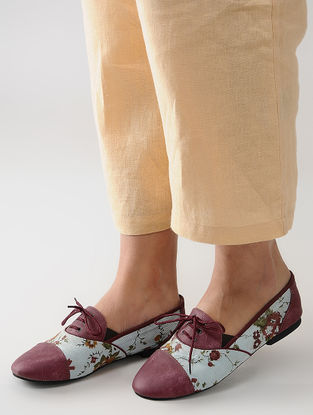 Maroon-Multicolored Handcrafted Floral Printed Shoes