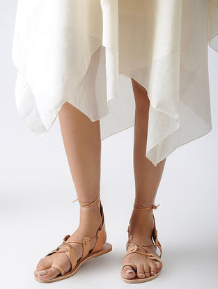 Beige Handcrafted Leather Flats