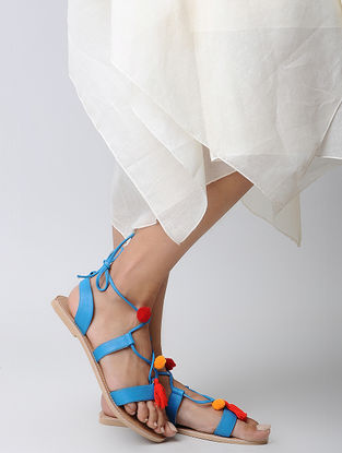 Blue Handcrafted Leather Flats with Pom Pom