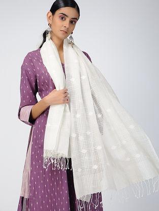 Ivory Handloom Cotton Silk Dupatta