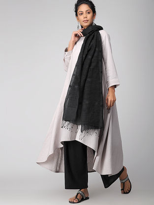 Black Handloom Cotton Silk Dupatta