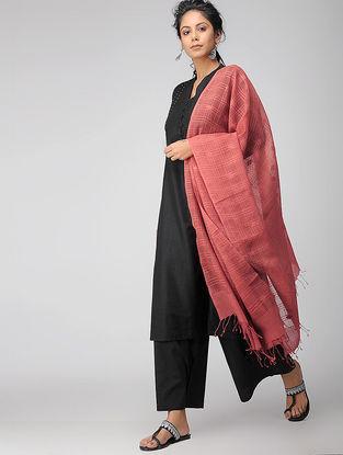 Rust Handloom Cotton Silk Dupatta