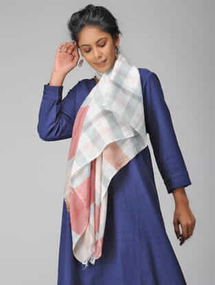 Peach Handloom Cotton Silk Stole