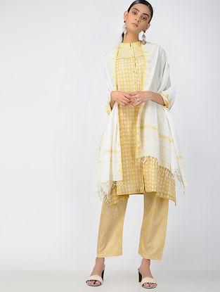 Ivory-Yellow Handloom Cotton Dupatta