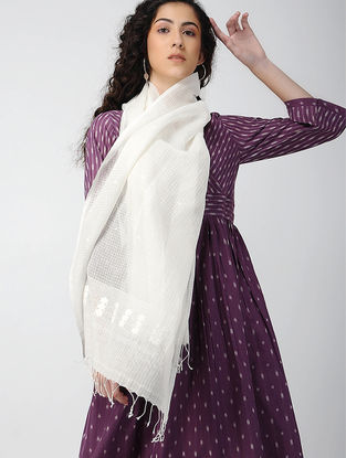 Ivory Handloom Cotton Silk Stole