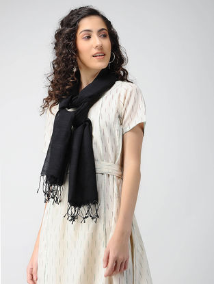 Black Handloom Cotton Silk Stole