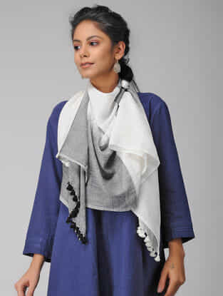 Grey-Ivory Handloom Cotton Stole with Tassels
