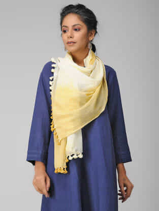 Ivory-Yellow Handloom Cotton Stole with Tassels