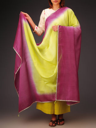 Dark Fuschia- Lime Green- Golden Chanderi Ombre Dyed Dupatta